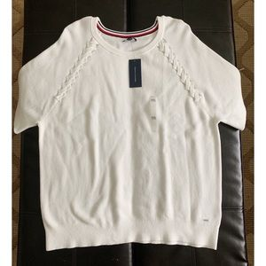 NWT Tommy Hilfiger Knit Short Sleeve Sweater White